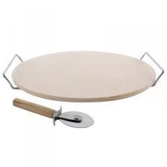 Камень для пиццы с ручками и ножом, круглый, 33 Biowin