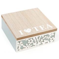 Коробка для хранения сладостей или чая на 4 секции 15 х 18 см