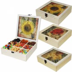 Коробка для хранения чая, 9-ть секций квадратная