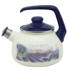 """Чайник эмалированный """"Лаванда"""" 2,5 л со свистком"""