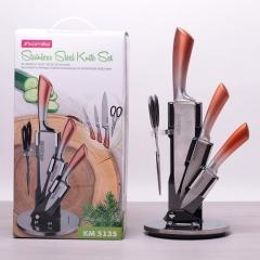 Набор ножей и ножницы на акриловой подставке, 5 предметов