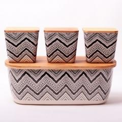 Хлебница 36х20.2х13.5см из бамбукового волокна с 3 емкостями Kamille